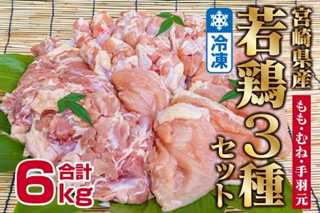 「宮崎県産若鶏3種」モモ・ムネ・手羽元6kgセット【B380】