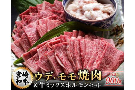 AA29 宮崎和牛ウデ・モモ焼肉&牛ミックスホルモンセット(合計900g)