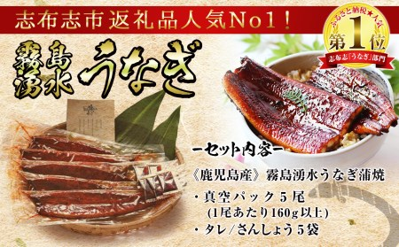 b5-079 【お礼の品人気No1】霧島湧水鰻 蒲焼 5尾