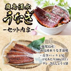 b0-096 鹿児島県産!霧島湧水鰻の蒲焼き 160g以上×4尾<計640g以上>