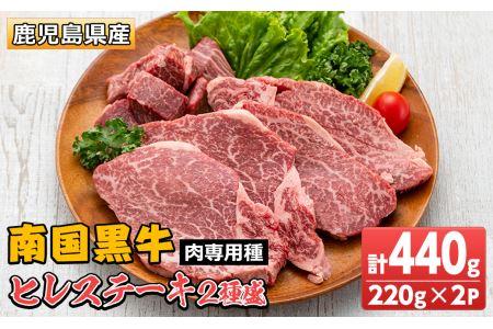 s142 鹿児島県産南国黒牛(肉専用種)ヒレステーキ2種盛り(計440g・220g×2パック)霜降りと赤身のバランスが絶妙な牛肉!ステーキとサイコロステーキをお楽しみください【カミチク】