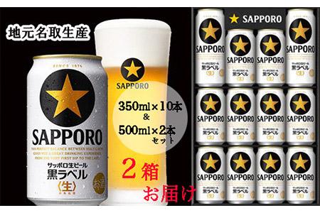 A30514+2 【一括お届け便】地元名取生産 サッポロ生ビール黒ラベル(350ml×10本&500ml×2本)2セットお届け