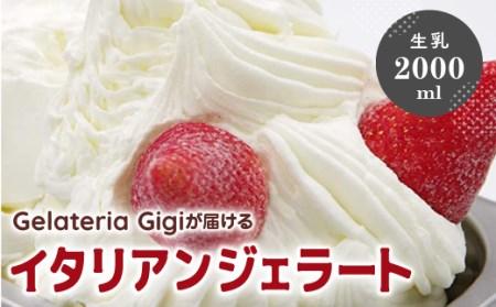【業務用サイズ】水本牧場の放牧牛の生乳を使用したGigiの生乳イタリアンジェラート2000ml【43019】
