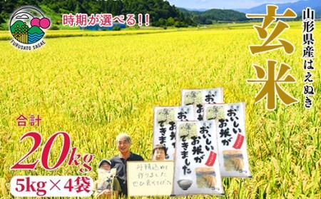 たっぷり20kg!2020年産「はえぬき玄米」山形県寒河江産 <米食味ランキング高評価 > 020-C01
