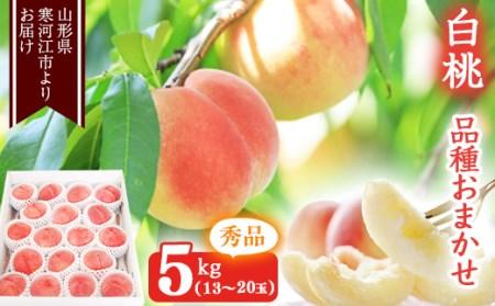 たっぷり5kg! 山形の白桃 <やわらかい桃> 品種おまかせ (13~20玉) 秀品 015-B22
