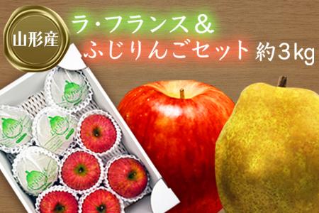 H073 【山形産】ラ・フランス&ふじりんごセット約3kg