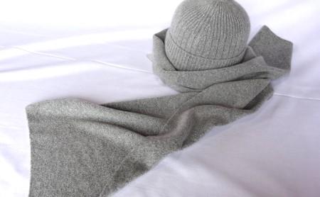 大江の職人の手動編み カシミア100%ニット帽&マフラー