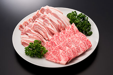 18-[4]【A4ランク以上】山形牛カルビ&山形県産豚バラ焼肉セット(計500g)
