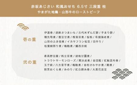 60-[3]東京赤坂あじさい「やまがた地鶏・本ズワイガニ入り和風おせち6.5寸三段重」