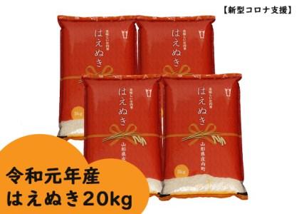 【新型コロナ支援】令和元年産 庄内町産はえぬき20kg