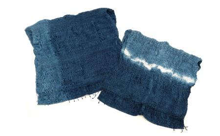 佐古染色工芸の藍染ひねりコットンストール【無地または絞り染め】 【絞り染め】