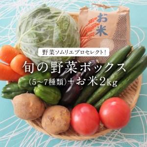 野菜ソムリエプロセレクト!旬の野菜ボックス(5~7種類)+お米2㎏ [AY001ya]