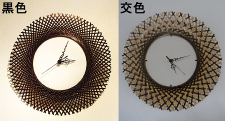 竹編みオリジナルデザイン時計 黒色・小