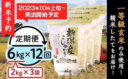 31-05【12ヶ月連続お届け】新潟県産コシヒカリ6kg(2kg×3袋)