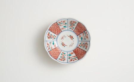 九谷焼 5号小鉢揃 赤絵小紋