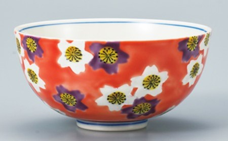 [№5784-0171]九谷焼飯碗 桜