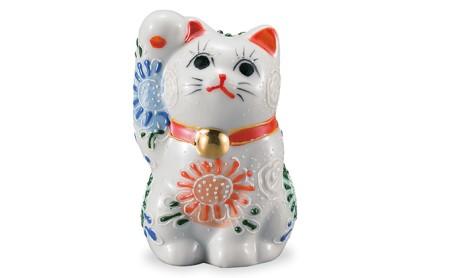九谷焼 2.8号招き猫 白盛