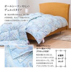 【ダニ忌避率84%】薄手+中厚の2枚合わせ羽毛布団 藍白色