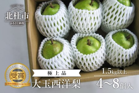 【先行予約】糖度14度以上の極上品 大玉西洋梨 1.5㎏以上(4~8個入)2021年9月以降発送