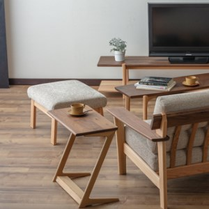 サイドテーブル ウォルナット×オーク材 飛騨の家具 イバタインテリア サイドテーブル デスクワーク コンパクト 多用途 W600×D320×H560 (mm) ST-K60 [Q014]