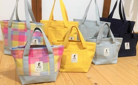 遠州浜松産 老舗織り屋のトートバッグ(中)4色展開 (3)水色(ごぼう)