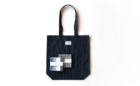 [№5786-1117]【遠州綿紬】はんかち2枚&エコバッグ 青系