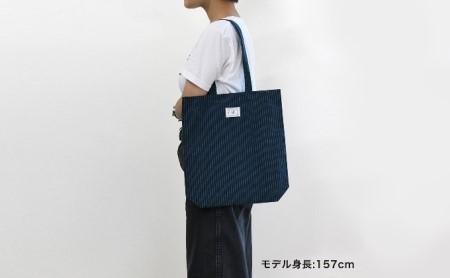 【遠州綿紬】はんかち2枚&エコバッグ 青系