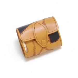 3つ折り財布 革のパッチワーク お札も小銭も入る「コロンとした小さなお財布」茶色【1210094】
