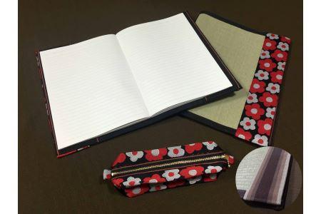 イ草が香る!ノートカバー、ファイルカバー、ペンケースセット カラー:花柄