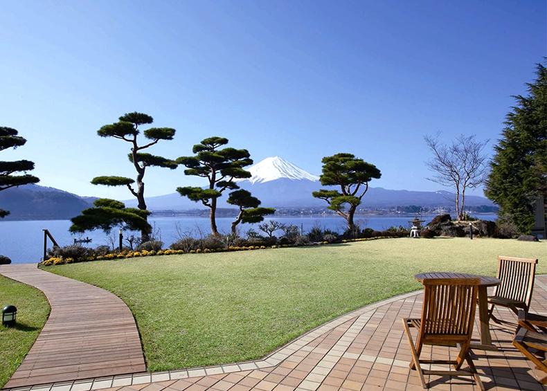 中庭では新緑、夏山、紅葉、雪の富士と四季の写真を撮影する絶好のポイントです。