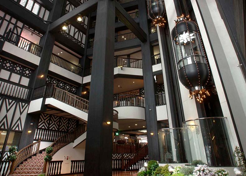 ヒュッテをイメージしたエントランス、シースルーエレベーター