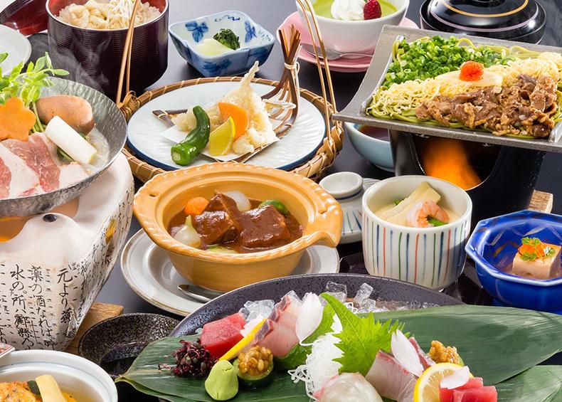 旬の食材を生かした「和食会席」と「できたて食べ放題付旬の会席」
