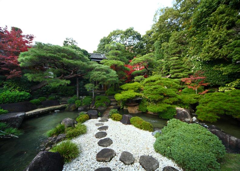 季節の移り変わり毎に様々な趣を楽しめる廻遊式日本庭園。