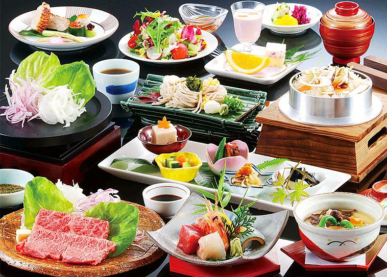 松園荘のある京都 亀岡の豊かな大地が育む農作物、丹波篠山名物の猪肉、丹波牛等の銘柄牛、京都中央卸売市場直送の魚介類など…