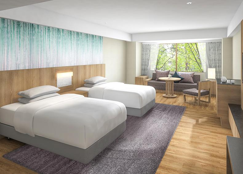 ベッドは世界各 国で愛されるシモンズ社のものを採用。旅の疲れを癒す最上の眠りをお約束いたします。